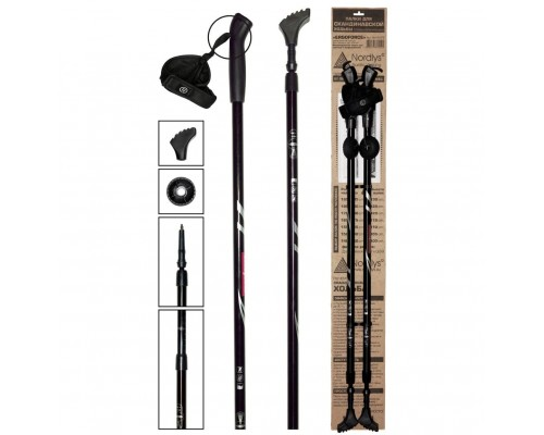 Палки для скандинавской ходьбы Ergoforce Black