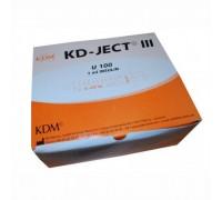 Шприц инсулиновый 1мл U100 KDM, интегрированная игла 29G (0,33x12,7), трехкомпонентный